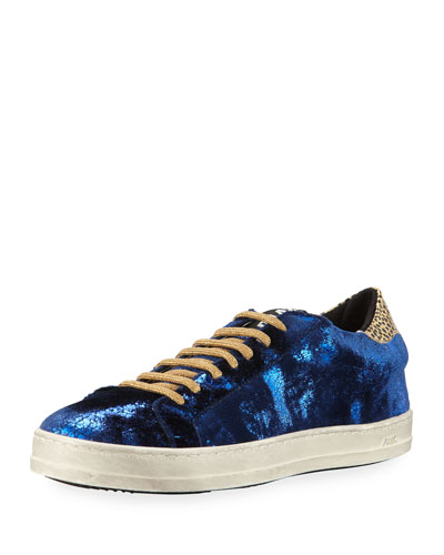 John Crushed Velvet Low-Top Platform Sneaker