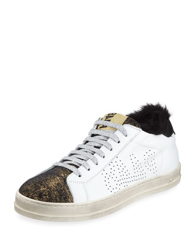 John Leather Low-Top Sneakers with Faux Fur