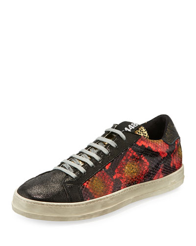 John Python-Embossed Leather Low-Top Sneaker