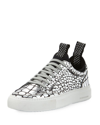 Soho Metallic Croco Low-Top Sneaker with Neoprene Sockliner