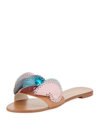 Soleil Embellished Calf Leather Slide Sandal