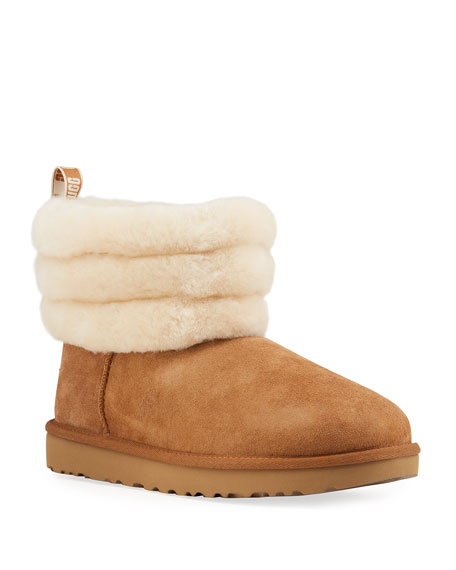 Women'S Fluff Mini Quilted Round Toe Suede & Sheepskin Booties, Black