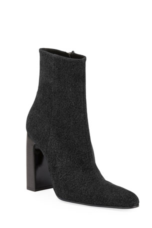 Balenciaga Denim Round-Toe Block-Heel Booties