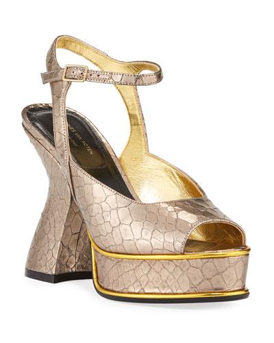 Louis IV Modern Snake-Print Platform Sandals