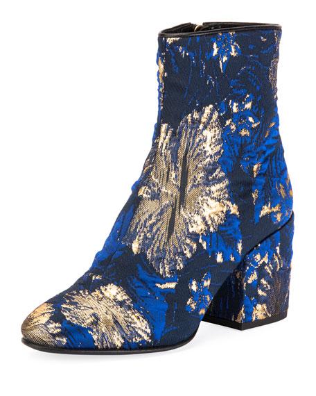 DRIES VAN NOTEN Chunky-Heel Brocade Booties in Blue Mlti