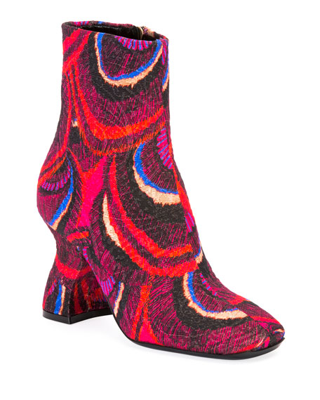 Louis Heel Brocade Booties
