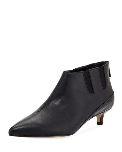 Ilex Leather Kitten-Heel Booties
