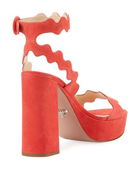 Scalloped Suede Platform Sandal
