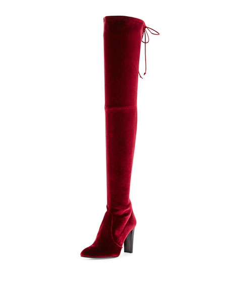 Stuart Weitzman Alllegs Velvet Over-the-Knee Boot, Scarlet