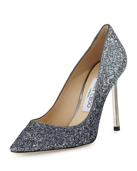 Romy Glitter Pointed-Toe 100mm Pump