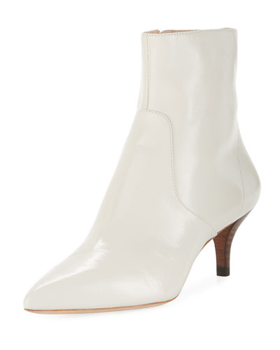 Kassidy Stretch Patent Leather Kitten-Heel Booties