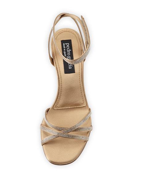 Xafira Embellished Satin Block-Heel Sandal