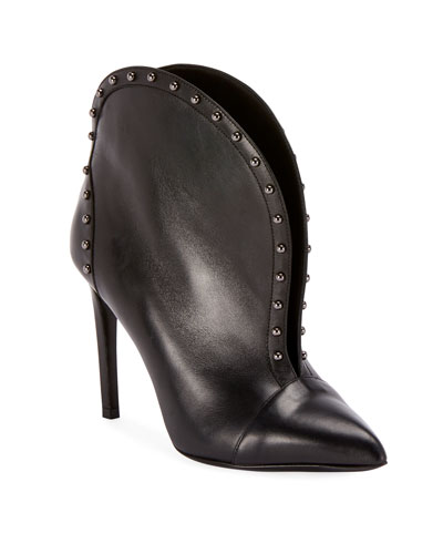 Iren Calfskin Split-Front Ankle Boot