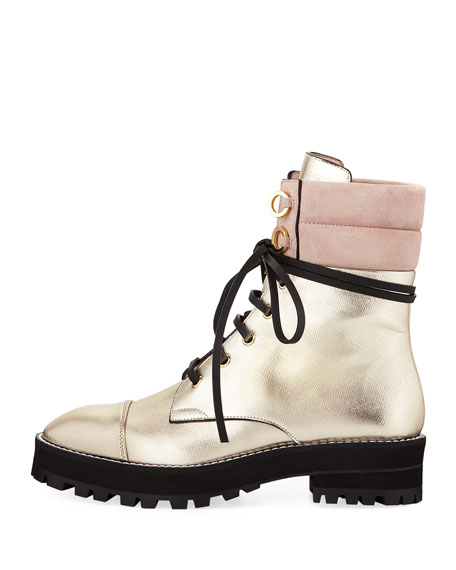Lexy Metallic Leather Combat Boot