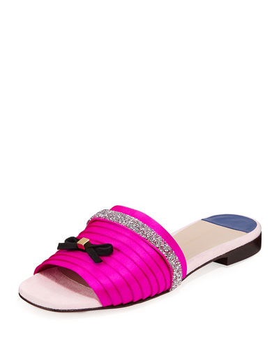 Bizy Crystal Satin Flat Slide Sandals