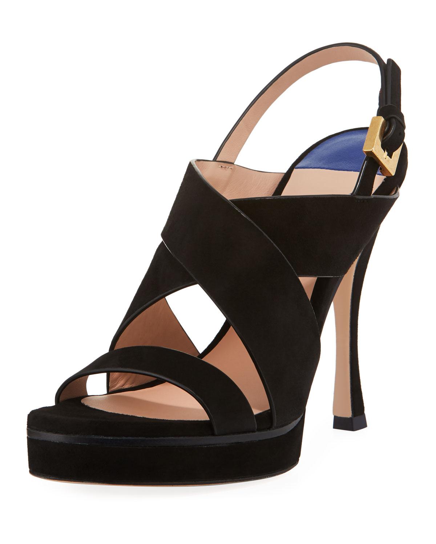 Stuart Weitzman Hester Suede Platform Sandals Neiman Marcus