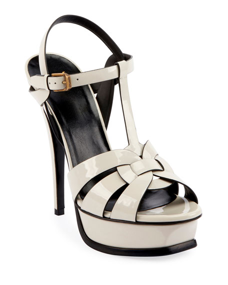 Saint Laurent Tribute 105mm Patent Platform Sandal