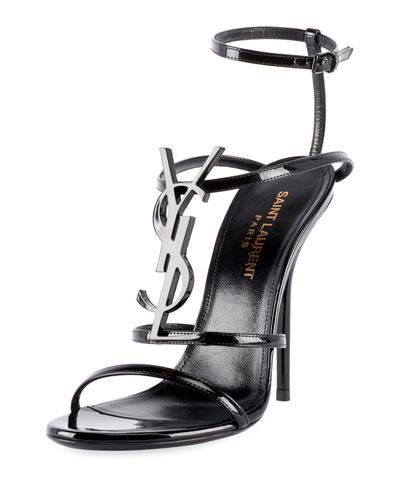 356c235a4b9d Saint Laurent Opyum Cassandra YSL Monogram Patent Sandals from ...