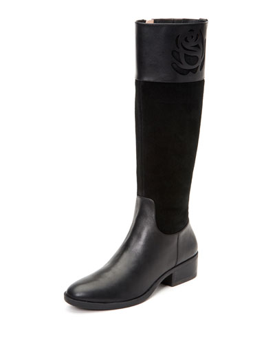 Georgia Tall Leather/Suede Riding Boots