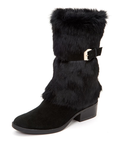 Giselle Water-Resistant Suede & Faux-Fur Mid-Calf Boots
