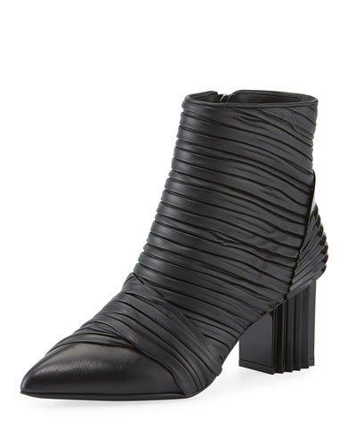 Irina Pleated Two-Tone Booties