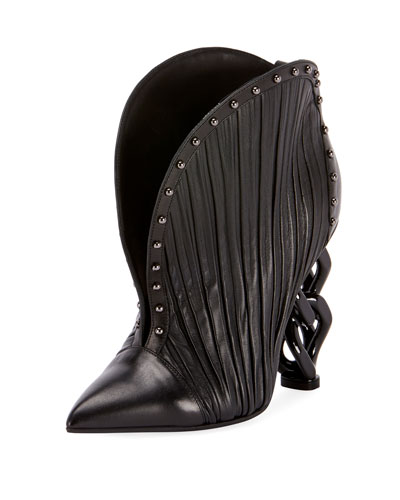 Ines Pleated Studded Chain-Heel Bootie