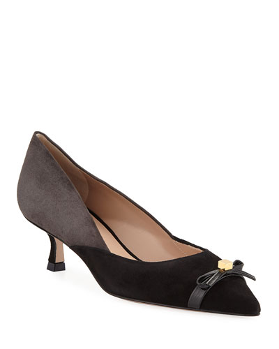 Winn Kitten-Heel Two-Tone Bow Pumps