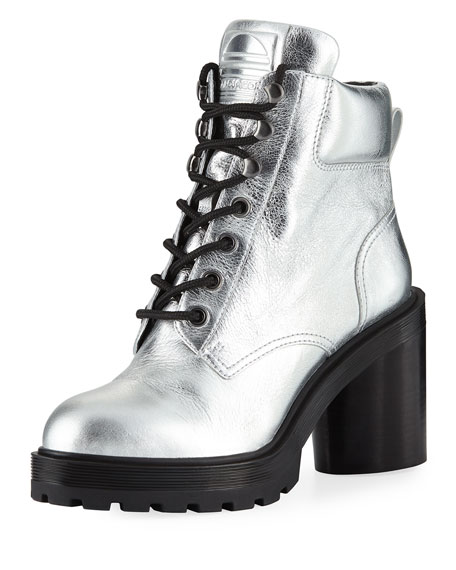 Metallic leather combat boots