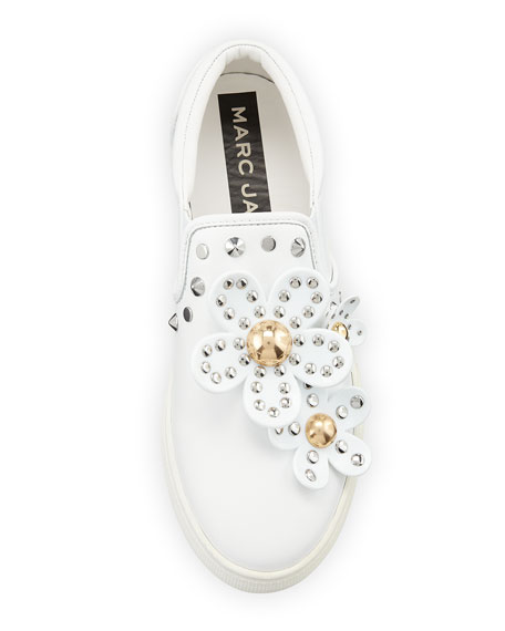 Daisy Studded Leather Slip-On Sneakers