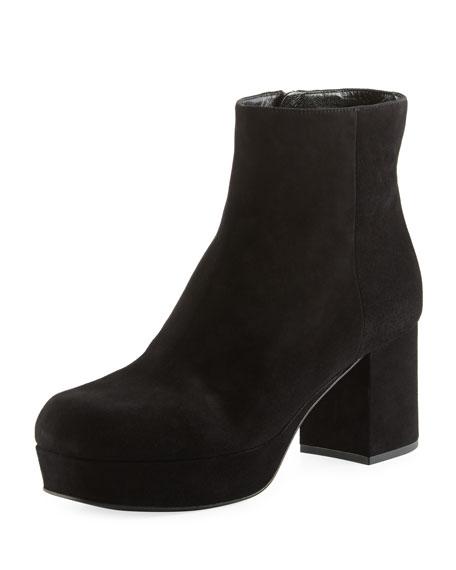 Prada Suede Platform Block-Heel Boot