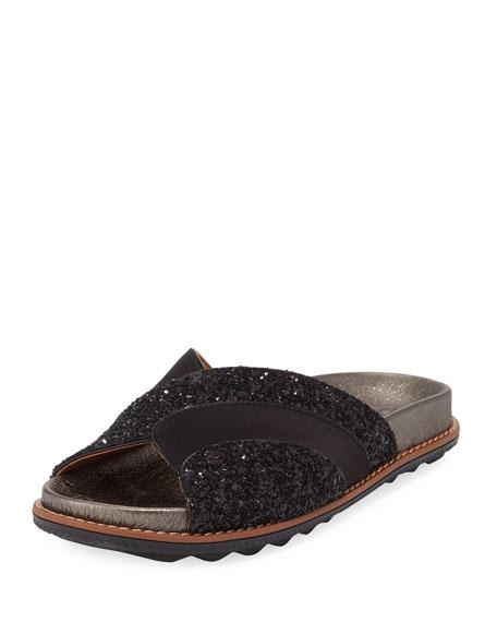 Glitter Flat Pool Slide Sandals
