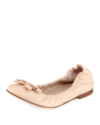 b7319467103 Stuart Weitzman Raven Crinkled Patent Bow-Toe Ballet Flat