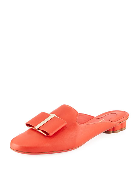 """Sciacca"" Flat Slide Mule with Vara Bow"