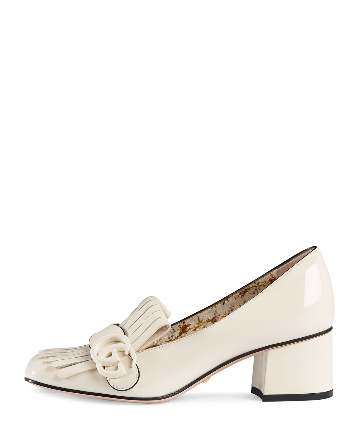 2785f3d41 Gucci Marmont Patent Loafer Pump, White | Neiman Marcus