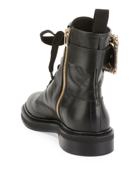Viv Rangers Strass Leather Lace-Up Booties