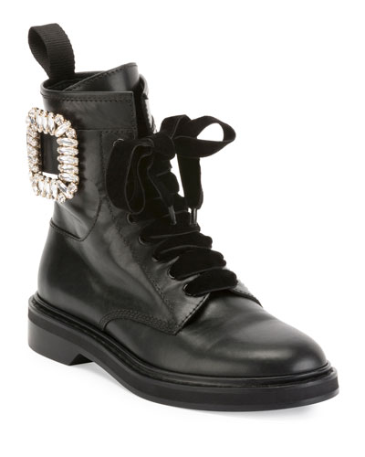 Viv Rangers Strass Leather Lace-Up Bootie