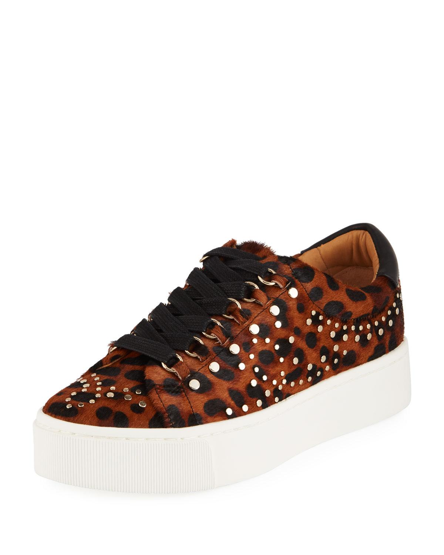 e6feb315f3a Joie Handan Studded Leopard-Print Platform Sneakers