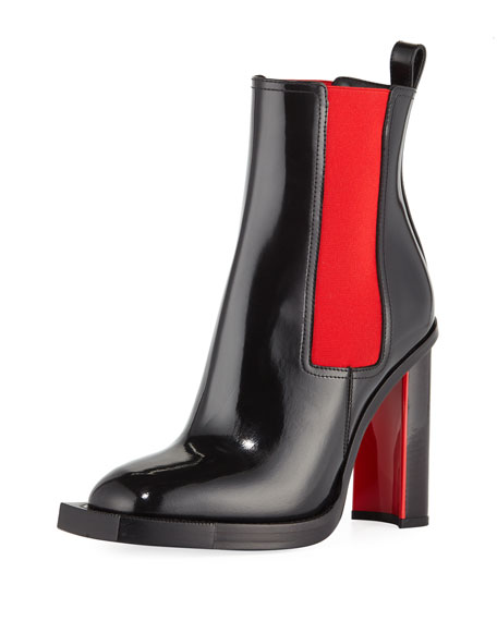 Patent Two-Tone Bootie
