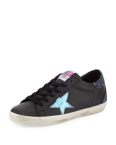 Superstar Leather Platform Low-Top Sneakers with Glitter Back