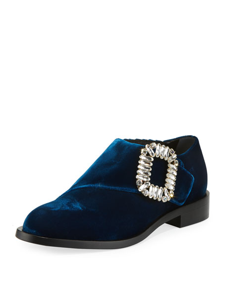 Monk Strass Velvet Buckle Loafers, Navy