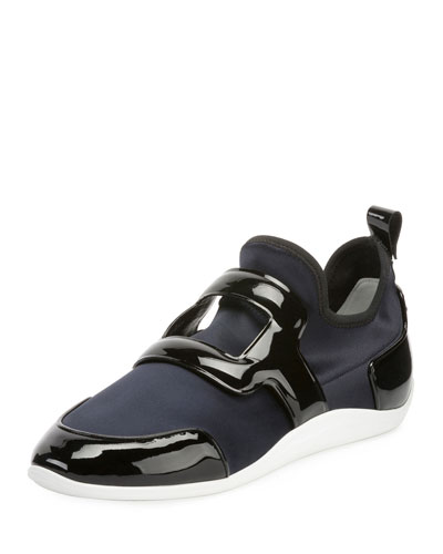 Sporty Viv Leather Buckle Sneakers