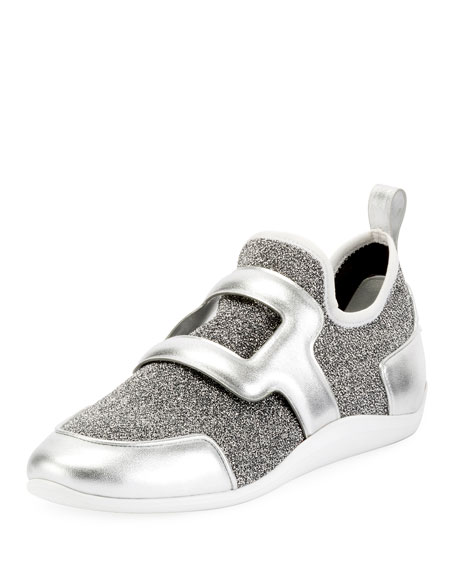 Sporty Viv Glitter Fabric/Metallic Leather Sneakers