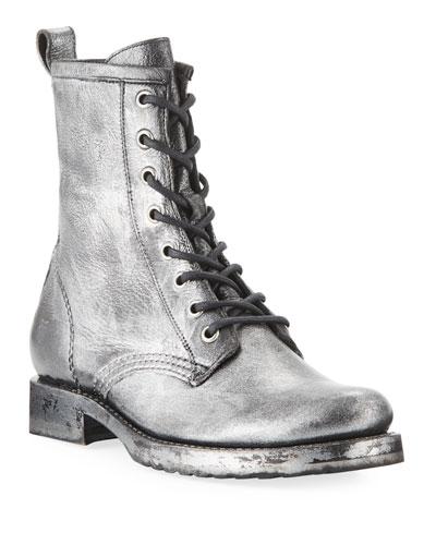 Veronica Metallic Leather Combat Booties