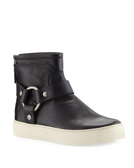 Women'S Lena Almond Toe Leather Western Booties in Black