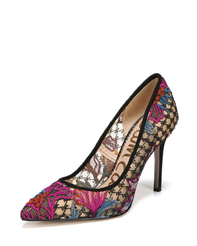 Hazel Floral-Lace Pointed Pumps
