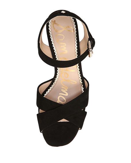 Jolene Suede Chunky-Heel Sandal