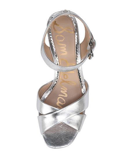 Jolene Distressed Metallic Chunky-Heel Sandal