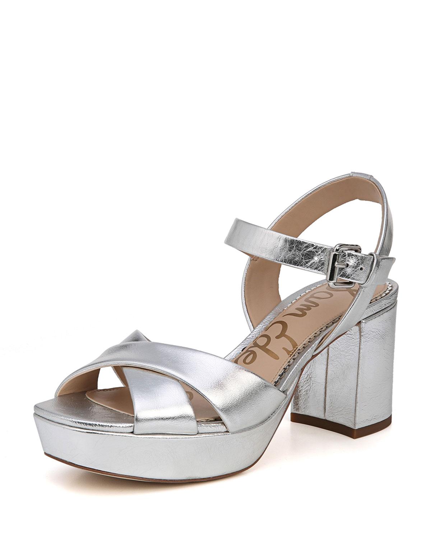 b0b9125dc92c Sam Edelman Jolene Distressed Metallic Chunky-Heel Sandal