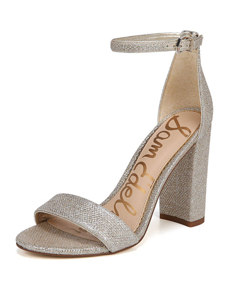 Yaro Chunky-Heel Glam Mesh Ankle-Wrap Sandal