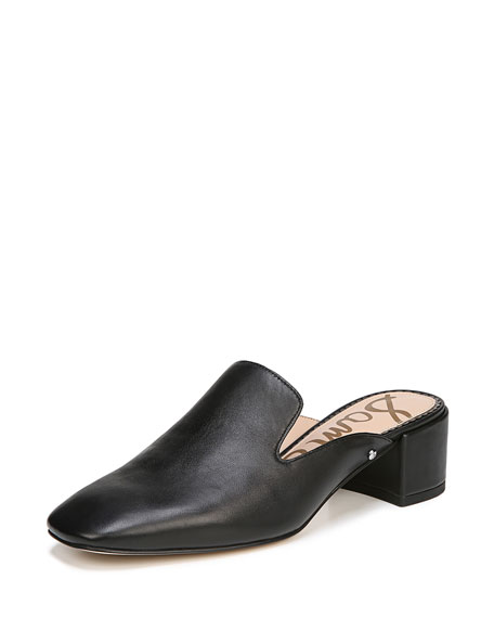 Adair Leather Block-Heel Mule Slide